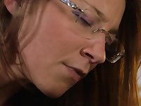Nerdy brown haired sweetie with glasses needs a huge meat pole