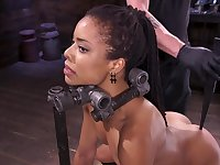 Incredibly sexy ebony slave girl gets tormented by her master