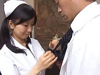 Sexy Japanese girl Hina Hanami gives a BJ to a lucky doctor