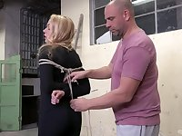 Slave girl Rebecca Black tied up and pleasured with a vibrator