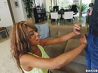 Adorable ebony Annabelle Rey spreads her legs to be fucked hard