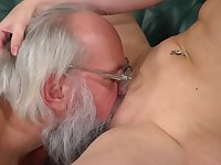 Excited grandpa can't wait to fuck that young pussy