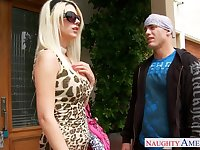 Aroused stud in hat fucks the shit out of Jazy Berlin doggy style