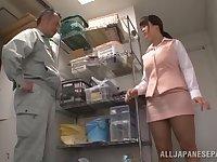Creative breast play and cock sucking with stacked Asian Miyuki Matsushita