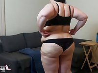 BBW brunette in lingerie tryout - Fat ass & monster tits solo