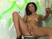 Nude girl sucks dick and masturbates in gloryhole XXX
