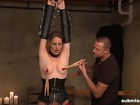 Obedient until the end while being clamped and roughly fucked