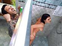Inked stud analyzes sexy roommate with fake tits in the shower