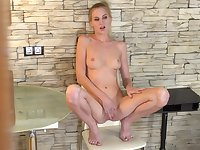 Desirable solo girl Tatiana pleasures her pink taco with her fingers