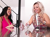 Horny blonde lesbians Alana Luv and Rio Lee are scissoring pornstars