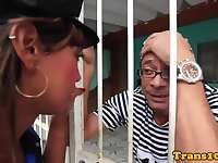 Ts policewoman riding a convicts hard cock