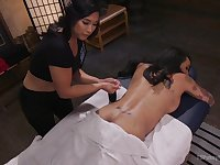 Mia Li & Honey FoXXX in Erotic Nuru Massage On A Hot Ts With Huge Cock - TSPussyHunters