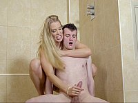 Blonde mommy dominates her stepson