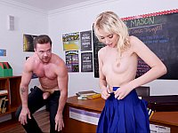 Pale blonde rides his teacher's thick dick