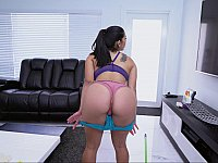 Big booty Latina seducing while cleaning
