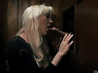 Blonde bombshell Valerie Fox in a fetish fuck scene at the church