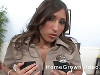 Busty Latina Sofie Reyez gets her face covered with cum in a uniform