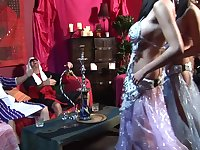 Stunning stomach dancers has 4some with two rich fellows at the club