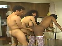 Threesome Orgy classic copulation with ebony