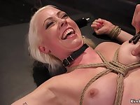 Blond slave backside plugged and pounded