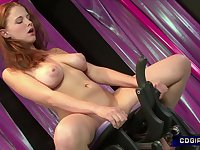 Ginger teen girl rides sex machine