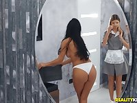 Shalina Devine and Gina Gerson lick each other under the shower