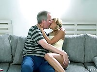 Young student Sarah Cute is eager for hard and big dick of one old dude