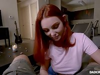 Lovely charming redhead Lacy Lennon gives a really good blowjob