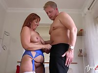 Chubby old redhead sucks fat cock from her knees