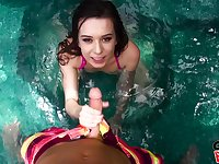 You will love this pool blowjob by cock hungry Ariel Grace