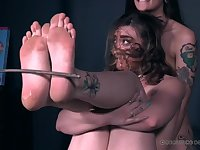 Messy food play with two submissive girls