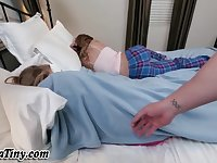 Sleeping teen jizz soaked