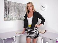 Attractive British porn actress Natalia Forrest performs hot masturbation video