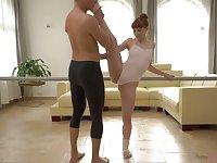 Flexible red haired ballerina Alexa Nova is fucked by dance partner