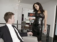 Femme fatale Lisa Ann is toying her hole before a passionate anal sex