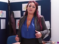 Strict female inspector Roxy R gets naked and shows off big tits and juicy cunt
