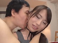 Japanese teen in a miniskirt spits out her boyfriends cumshot