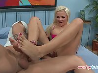 Blonde MILF Jenna Lovely rides a hard cock and plays with her feet