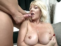 Busty mature blonde granny Rosemary gets cum from a big black cock