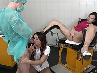 Nurse Natalie Hot and patient Mia Sophi share a doctors cock