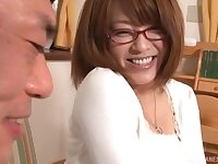 Japanese brunette babe with glasses gets her hairy pussy fucked hard