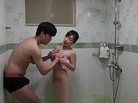 horny korean couple having hot shower fuck