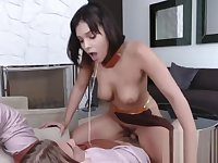 Violet makes her master so horny he worships her by drilling her cunt