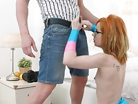 Redhead nerdy teen Kira Roller wants all of the cum in her mouth