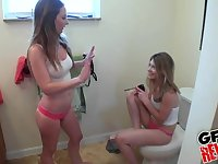 Two teen sluts Sam Summers and Kali James make a cock feel lucky