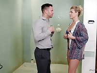 India Summer gives a blowjob in the shower and provides man with unforgettable nuru massage