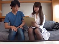 Cute Japanese brunette doctor pounded by an orderly on a break