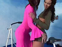 Lesbians in fishnets Jacqueline Stones and Nikita have fun with toys