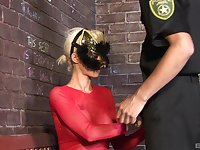 Costumed fetish fuck with blonde babe sucking and riding a cop