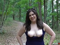Pretty amateur wife with a nice boobs sucking a hubbys dick outdoors in point of view